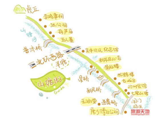 山塘街手绘地图