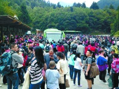 九寨沟景区游客拥挤