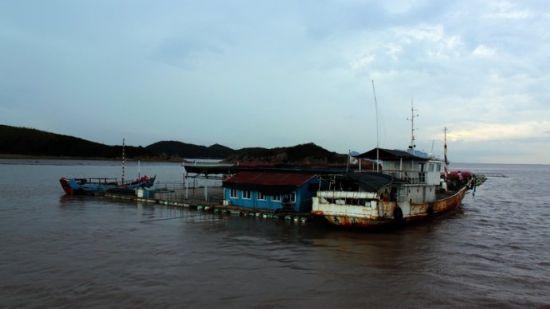 第二天的捕捞,海上风景多多,停泊在海中央的大货轮,与翻滚的海浪,组成