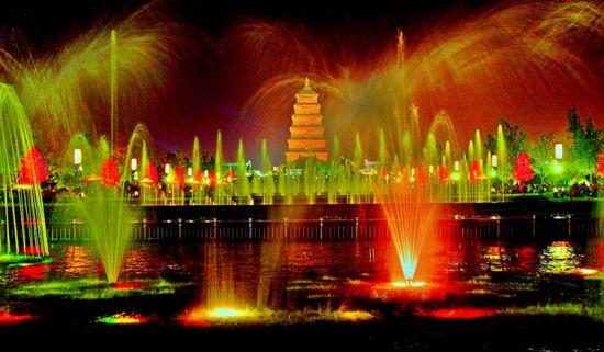 亚洲最大的音乐喷泉——大雁塔音乐喷泉