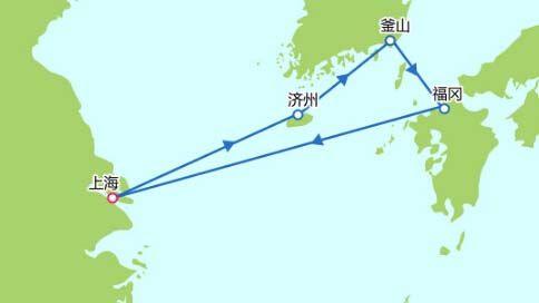 上海到日本福冈地图