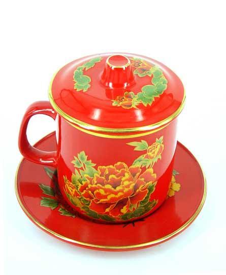 红瓷彩绘套杯