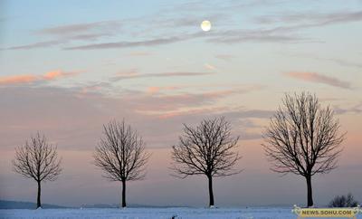 7、1月13日,德国德累斯顿,清晨明月当空。
