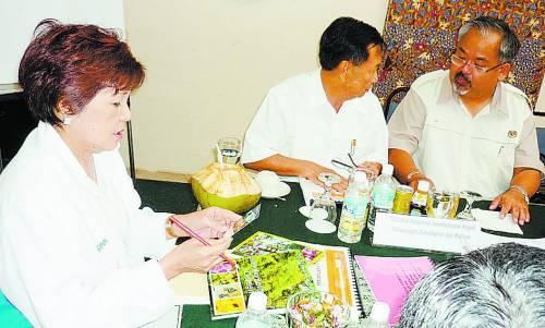 黄燕燕(左)与马六甲相关的旅游单位召开会议。(图片来源:光明日报)