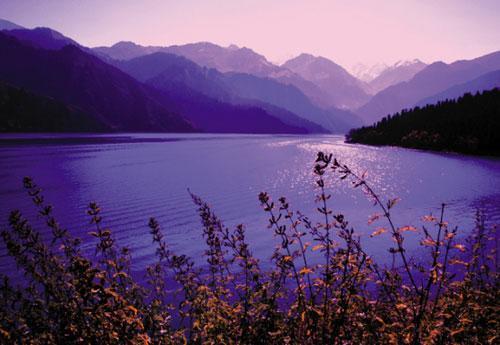天池是大自然独具匠心的杰作,它有湛蓝如玉的湖水,有飞流直下的瀑布,它的周围是雪峰、青松和撒满鲜花的大草原