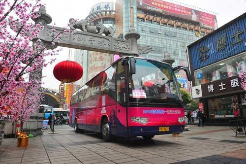 """3月20日,""""2010走进世博―旅游大篷车""""来到南京展开在江苏的第二场世博旅游宣传。"""