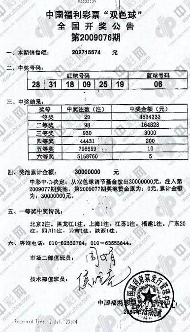 09076期双色球开奖传真,图片来自中彩网
