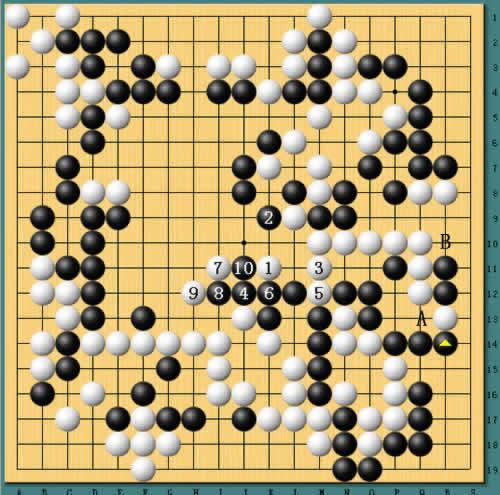 追光者葫芦丝谱降b-图6:接上图,白棋在中央出头,最后的一线希望.不过李昌镐计算精