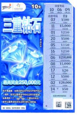 """""""三重钻石""""中奖票。"""