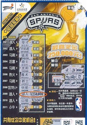 """""""NBA""""主题即开票的最高奖25万元"""