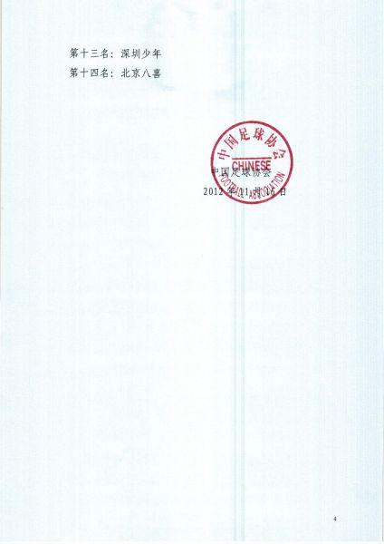 中国足协关于2012年全国青少年男子足球联赛成绩公告4