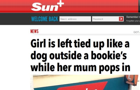 太阳报评论:女儿像狗一样被拴在了门外,而妈妈却进去赌博了