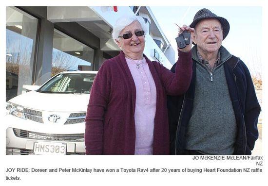 新西兰94岁老人20年买奖券中了辆轿车