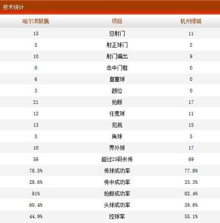哈尔滨毅腾3-1杭州绿城全场技术统计