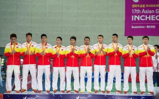 中国男团亚运获得银牌