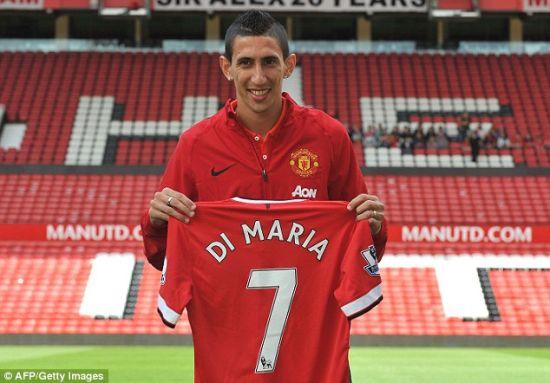 迪马利亚与曼联的7号球衣