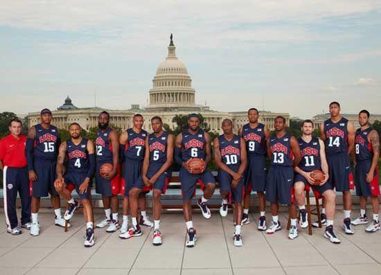 美国男子篮球队合影