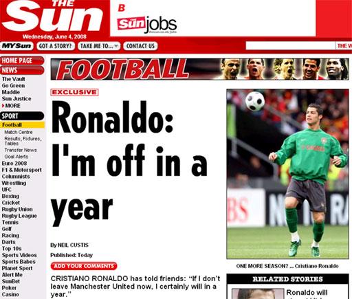 媒体称C罗向密友透露铁心去皇马:一年后离开曼联