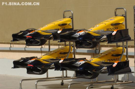 图文-F1车队备战巴林GP四具雷诺R28前翼