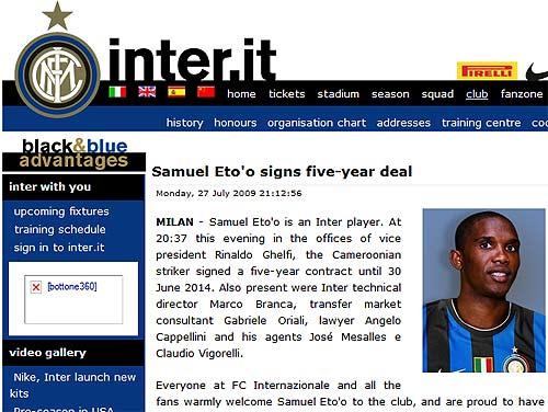 国米宣布与埃托奥签约5年今夏豪门最大互换完成