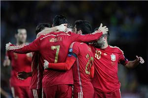 欧预赛-前皇马中锋处子球绝杀西班牙胜乌克兰