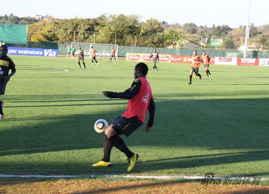 图文-新浪直击巴西队训练巴斯托斯表现抢眼