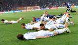 赛后庆祝胜利
