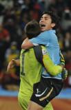 乌拉圭门将庆祝