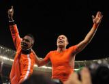 荷兰球员庆祝胜利