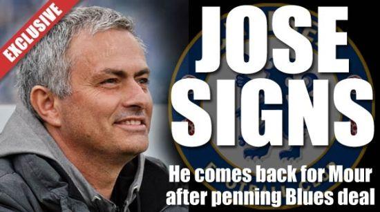 《太阳报》头条:穆里尼奥已经签约切尔西