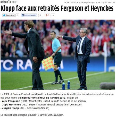 FIFA及《法国足球》公布2013世界最佳教练3人候选