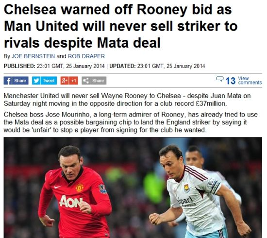 曼联警告切尔西:马塔来了鲁尼也不卖你