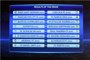 欧冠抽签-巴萨碰曼城切尔西遇巴黎皇马好签
