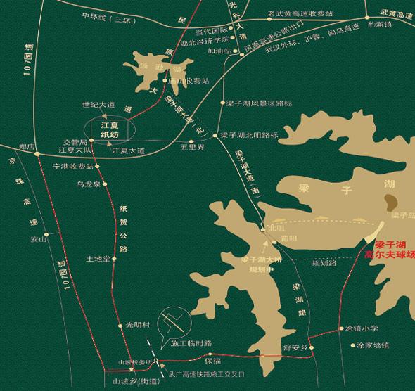 湖北梁子湖高尔夫度假中心地理位置
