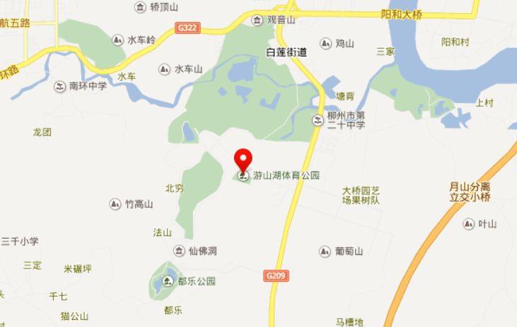 柳州卧龙湖高尔夫俱乐部位置图示