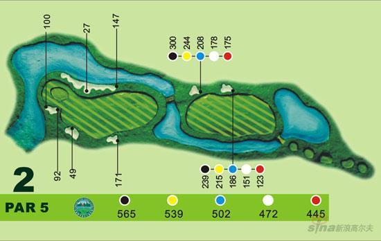 图文-宝鸡都市高尔夫俱乐部球道图第二洞