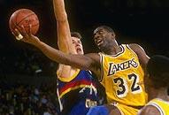 NBA老照片-魔术师约翰逊王者之争大战乔丹伯德