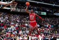 NBA老照片-飞人陛下经典灌篮乔丹罚球线起跳扣篮