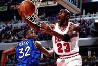 NBA老照片-公牛大帝复出遭遇阻碍乔丹飞越奥尼尔
