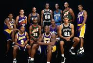NBA老照片-98西部全明星合影科比邓肯那时还很稚嫩