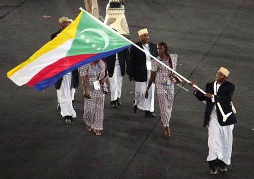 资料图-雅典奥运会开幕式 非洲科摩罗代表团入场