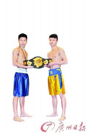 吕斌(左)和吴中林赛前称重。 广州日报记者 施绍宗 摄