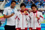 图文-中国游泳公开赛2日 男子100米蛙泳前三名