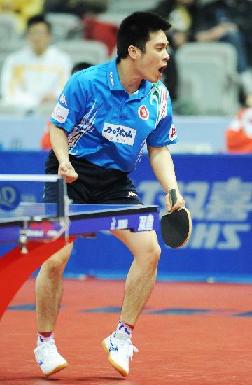图文-世乒赛中国香港队晋级半决赛高礼泽庆祝得分