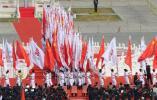 图文-奥运火炬接力在天安门启动 旗帜仪仗队入场
