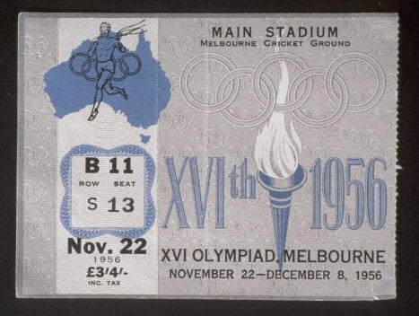 图文-历届夏季奥运会门票样式 1956年开幕式门票