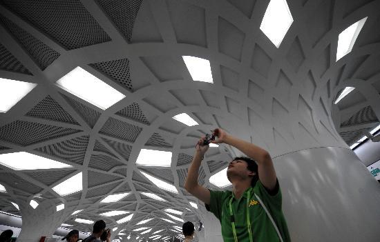 图文-体验北京地铁奥运支线 站内森林主题装饰