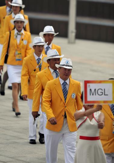 图文-蒙古国代表团举行升旗仪式 进入升旗仪式现场