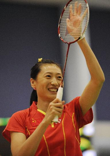 图文-国家羽毛球队赴香港访问表演 张宁最后演出