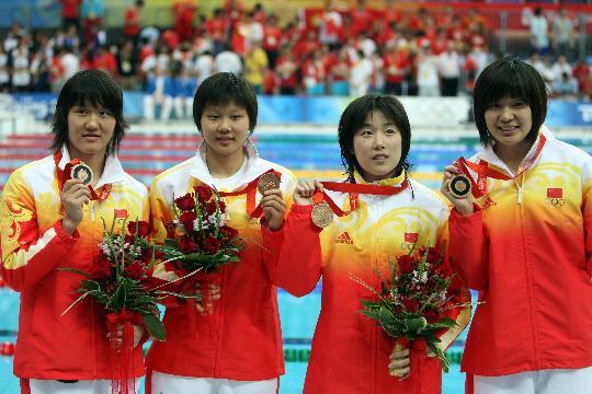 图文-中国游泳队奥运辉煌女子4x100混合接力季军